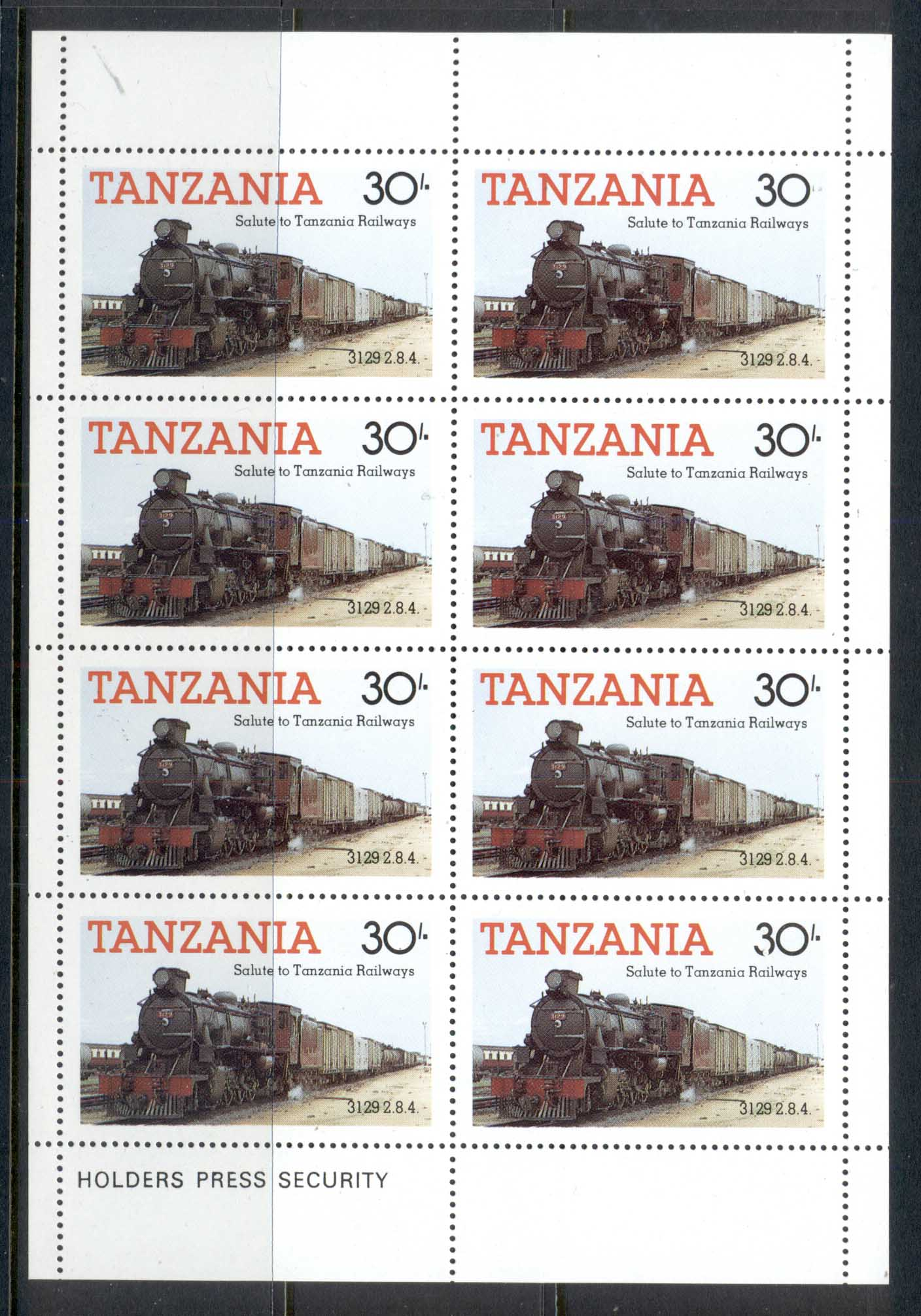 Tanzania 1985 Tanzanian Railways Locomotives 30/- sheetlet MUH