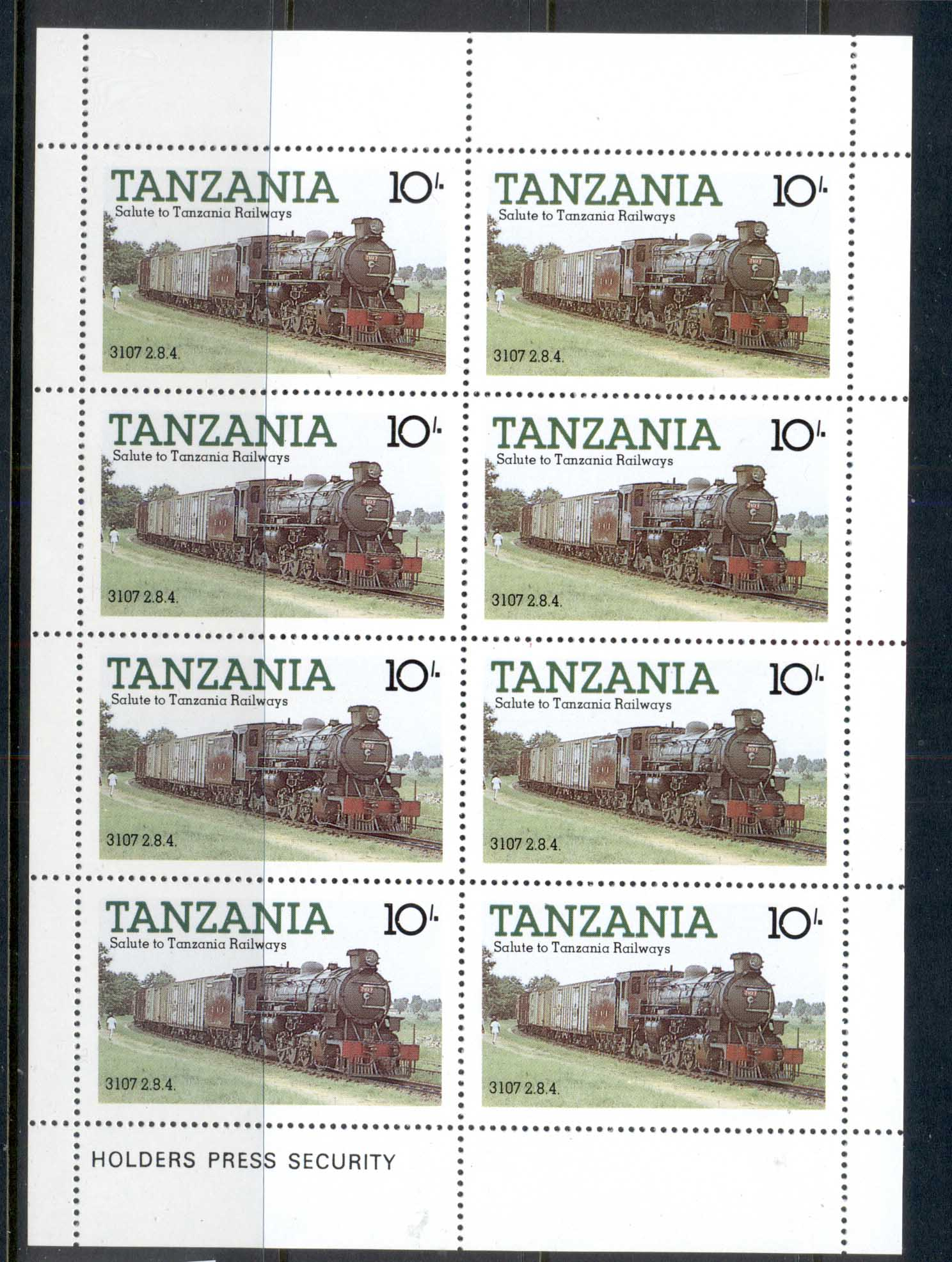 Tanzania 1985 Tanzanian Railways Locomotives 10/- sheetlet MUH