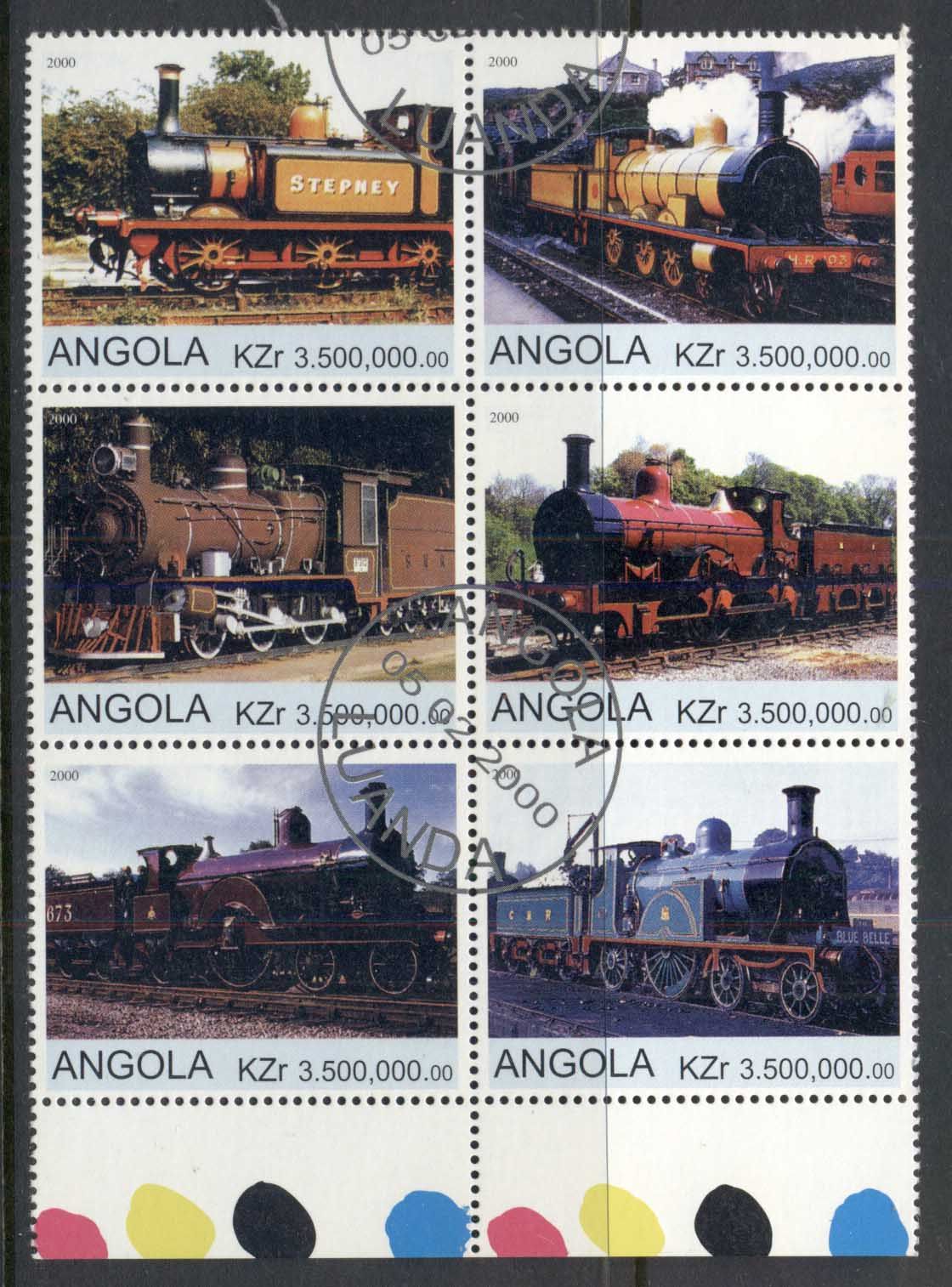 Angola 2000 Steam Trains blk6 (rebel Issue) CTO