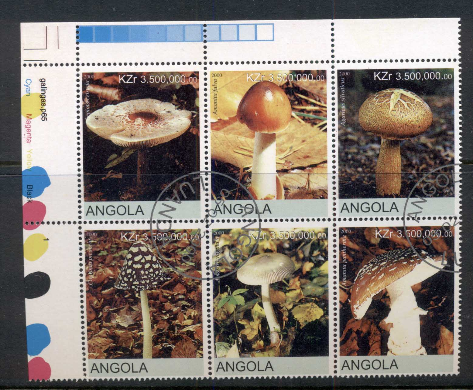 Angola 2000 Funghi, Mushrooms blk6 (rebel Issue) CTO