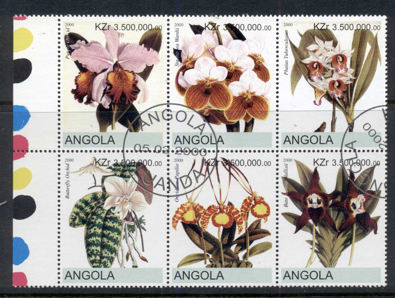 Angola 2000 Flowers, Orchids blk6 (rebel Issue) CTO