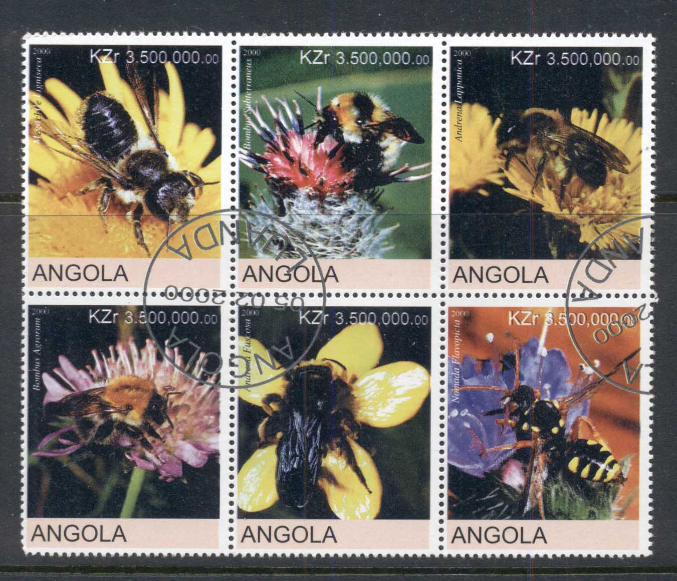 Angola 2000 Flowers, Bees blk6 (rebel Issue) CTO