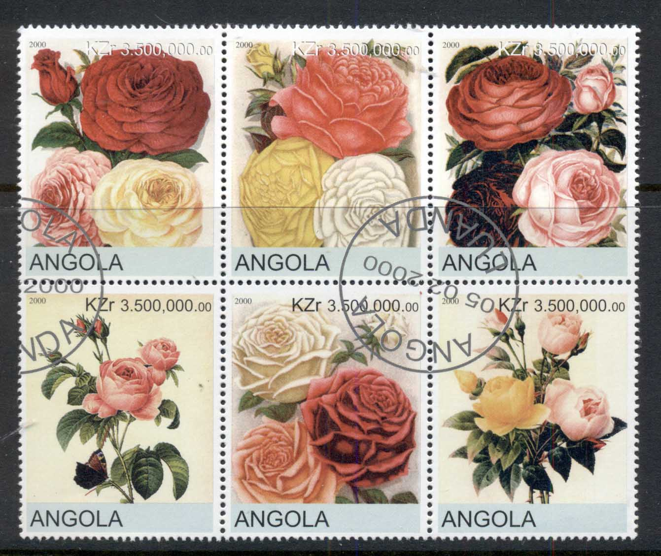 Angola 2000 Flowers, Roses blk6 (rebel Issue) CTO
