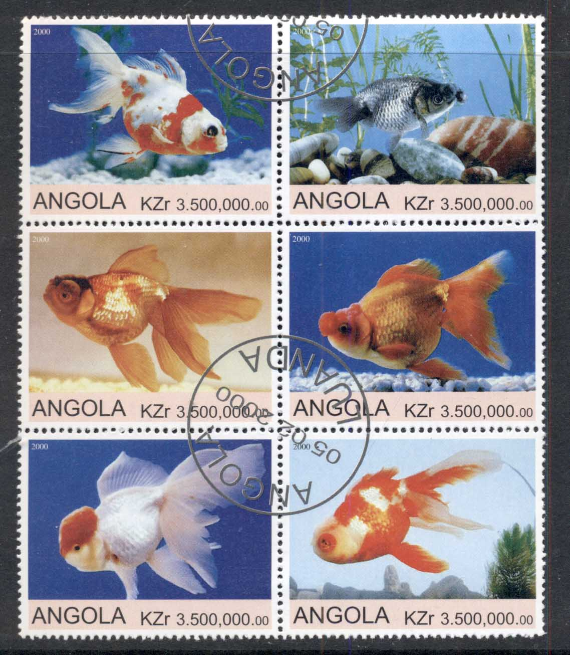 Angola 2000 Goldfish blk6 (rebel Issue) CTO