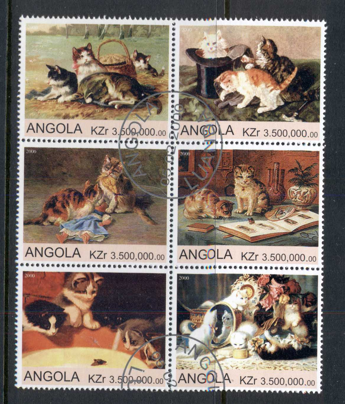 Angola 2000 Cat paintings blk6 (rebel Issue) CTO