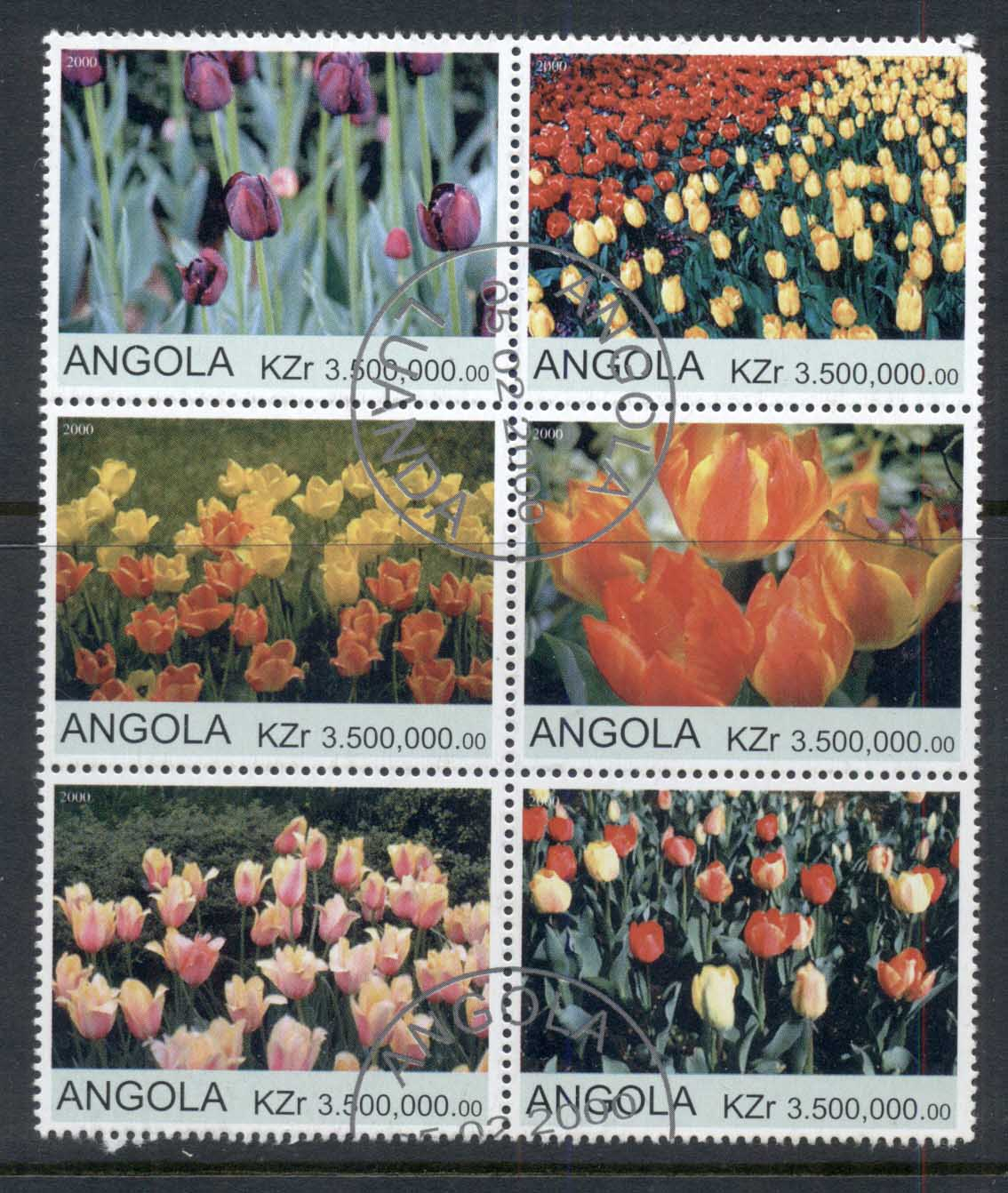 Angola 2000 Flowers, Tulips blk6 (rebel Issue) CTO