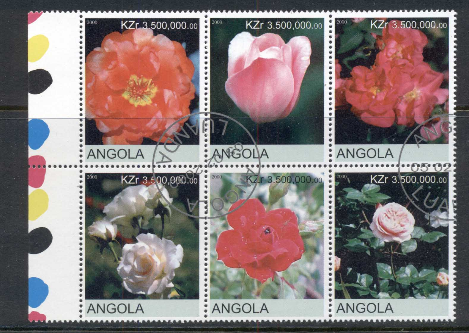 Angola 2000 Flowers, Tulips, Roses blk6 (rebel Issue) CTO