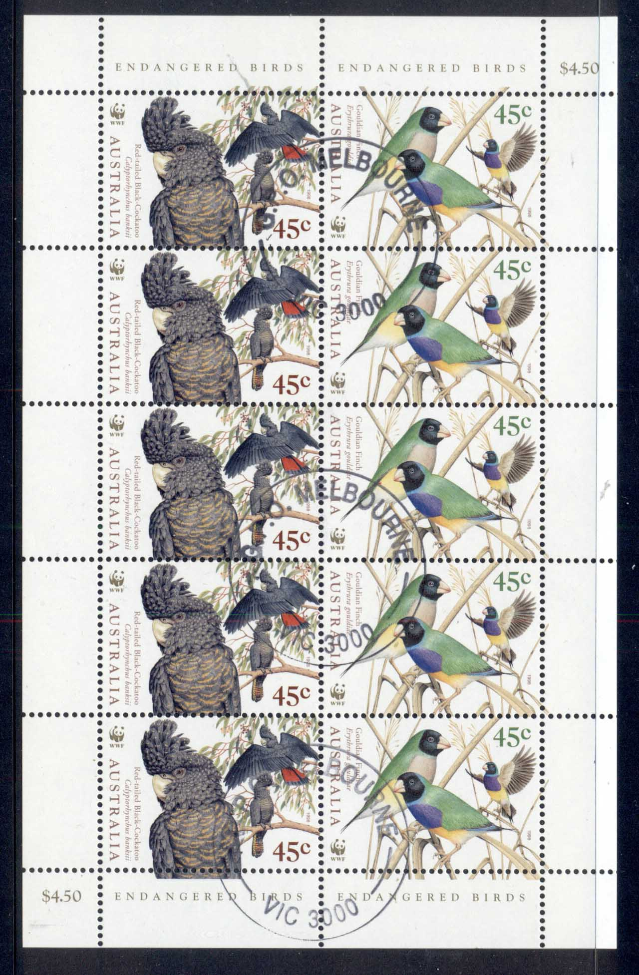 Australia 1998 Endangered Birds 45c Sheetlet CTO
