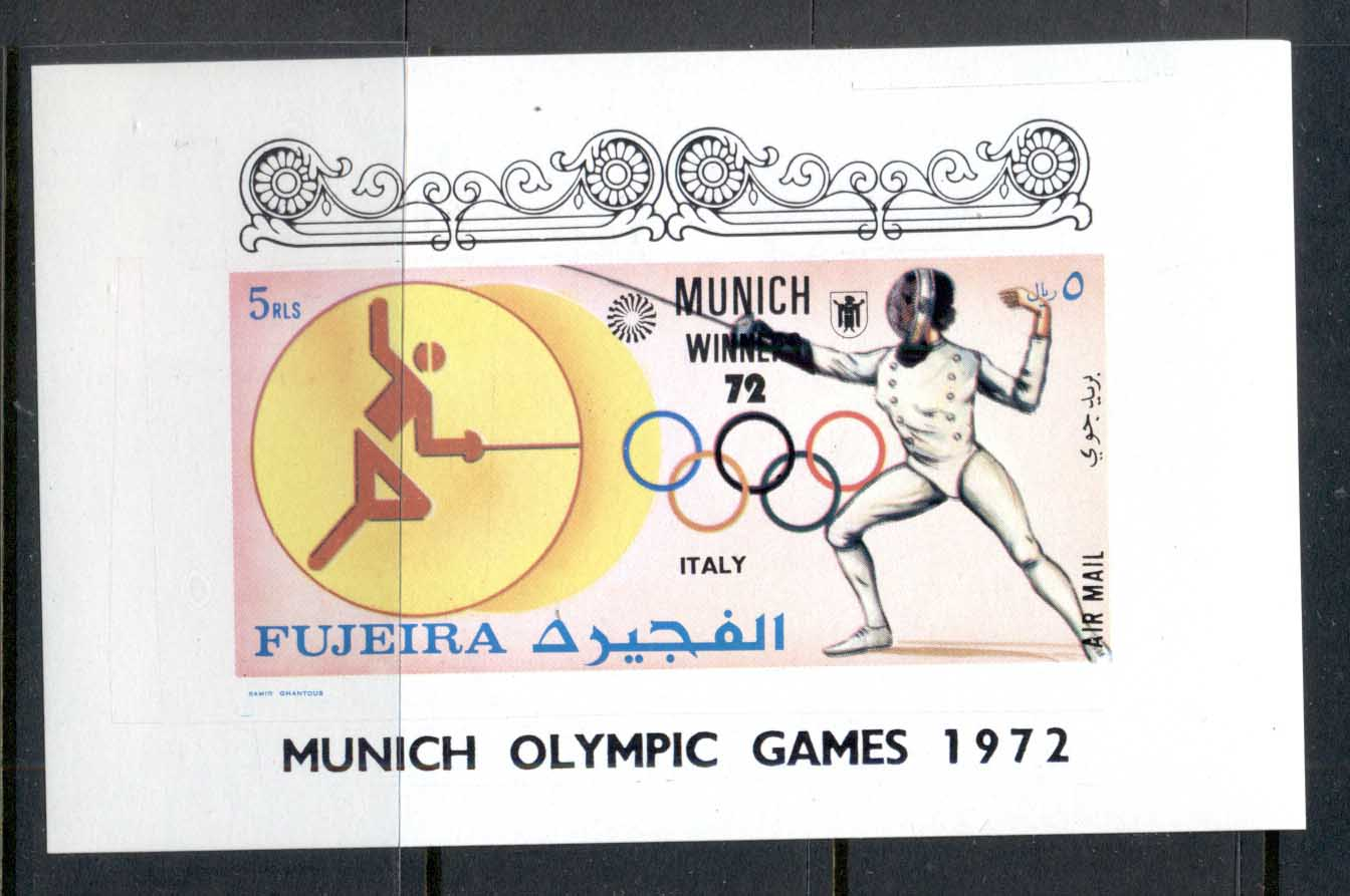 Fujeira 1972 Mi#1418 Summer Olympics Munich Medallists Foil fencing Germany Deluxe MS MUH