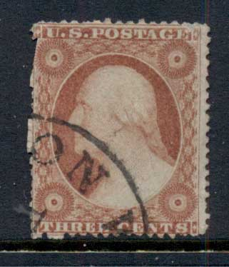 USA 1857-61 Sc#25 3c Washington TyI FU