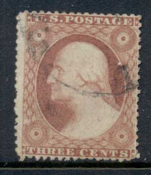 USA 1857-61 Sc#26 3c Washington FU