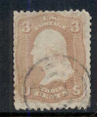 USA 1861-62 Sc#65 3c Washington FU