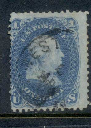 USA 1861-62 Sc#63 1c Franklin FU