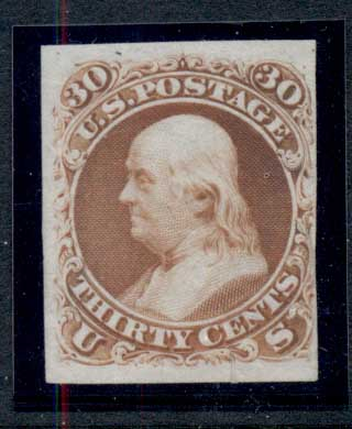 USA 1861 Sc#71P3 30c Plate Proof on India card