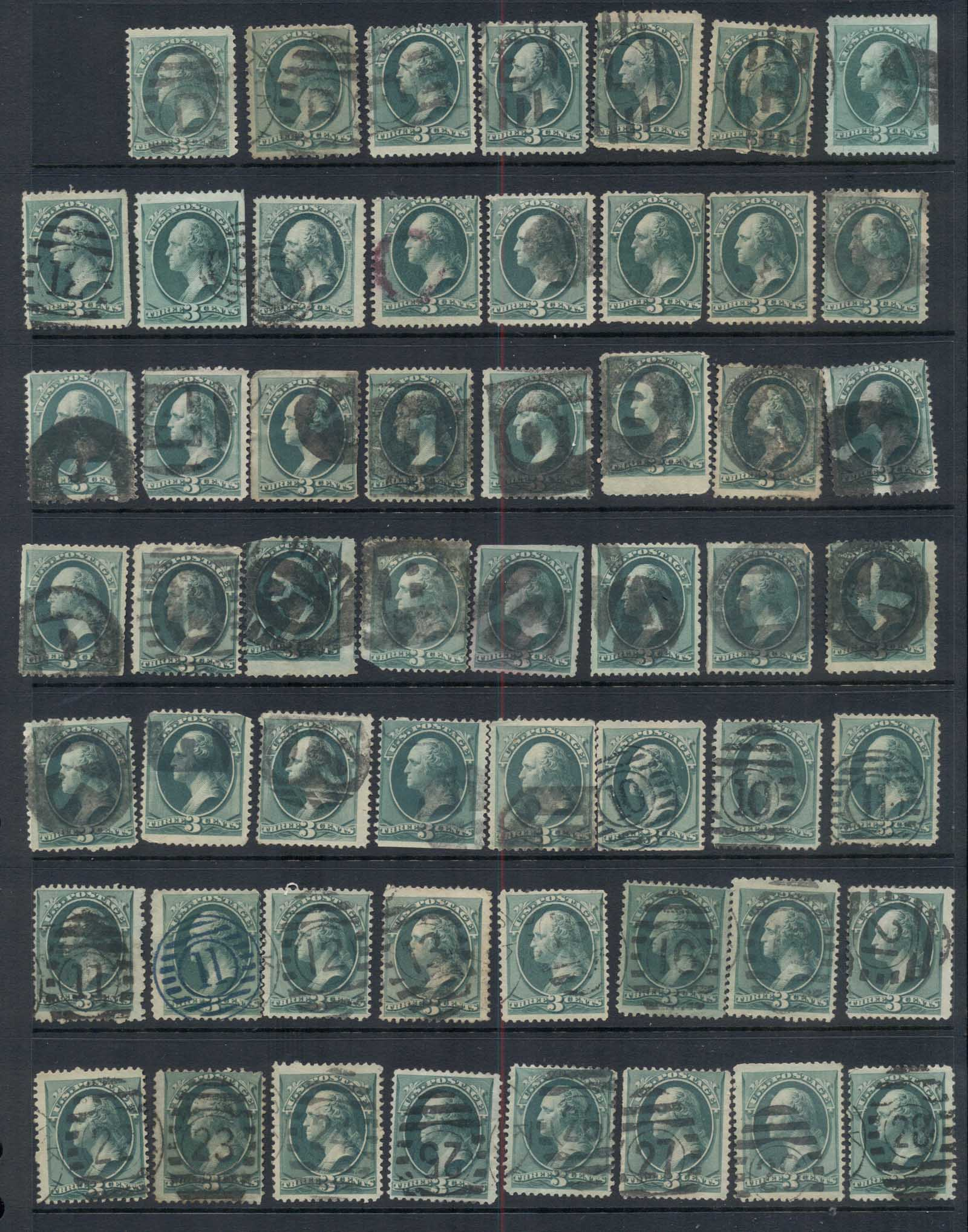 USA 1870-1882 3c Washington green Cancel collection, various printings, some multiples. Great lot to practice identification, 15