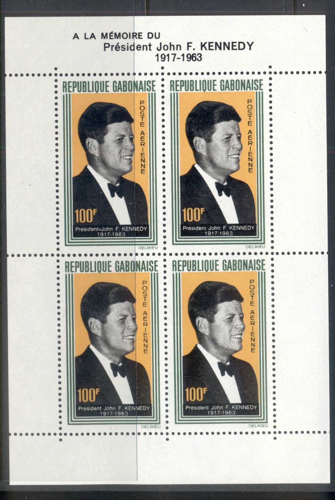Gabon 1964 JFK Kennedy MS MUH