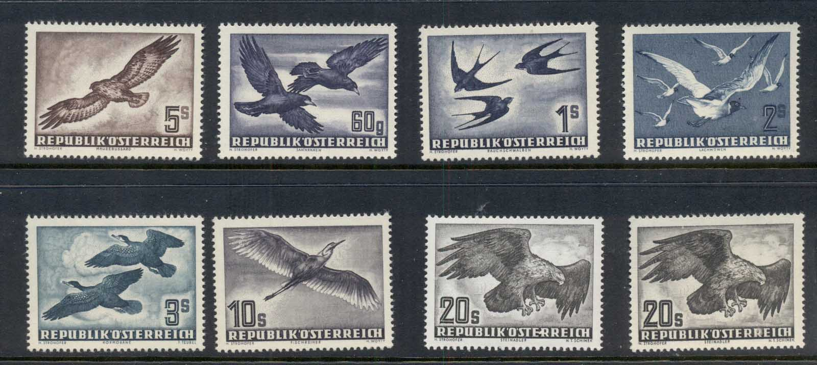 Austria 1950-53 Air Mail Birds, both 20s papers MUH
