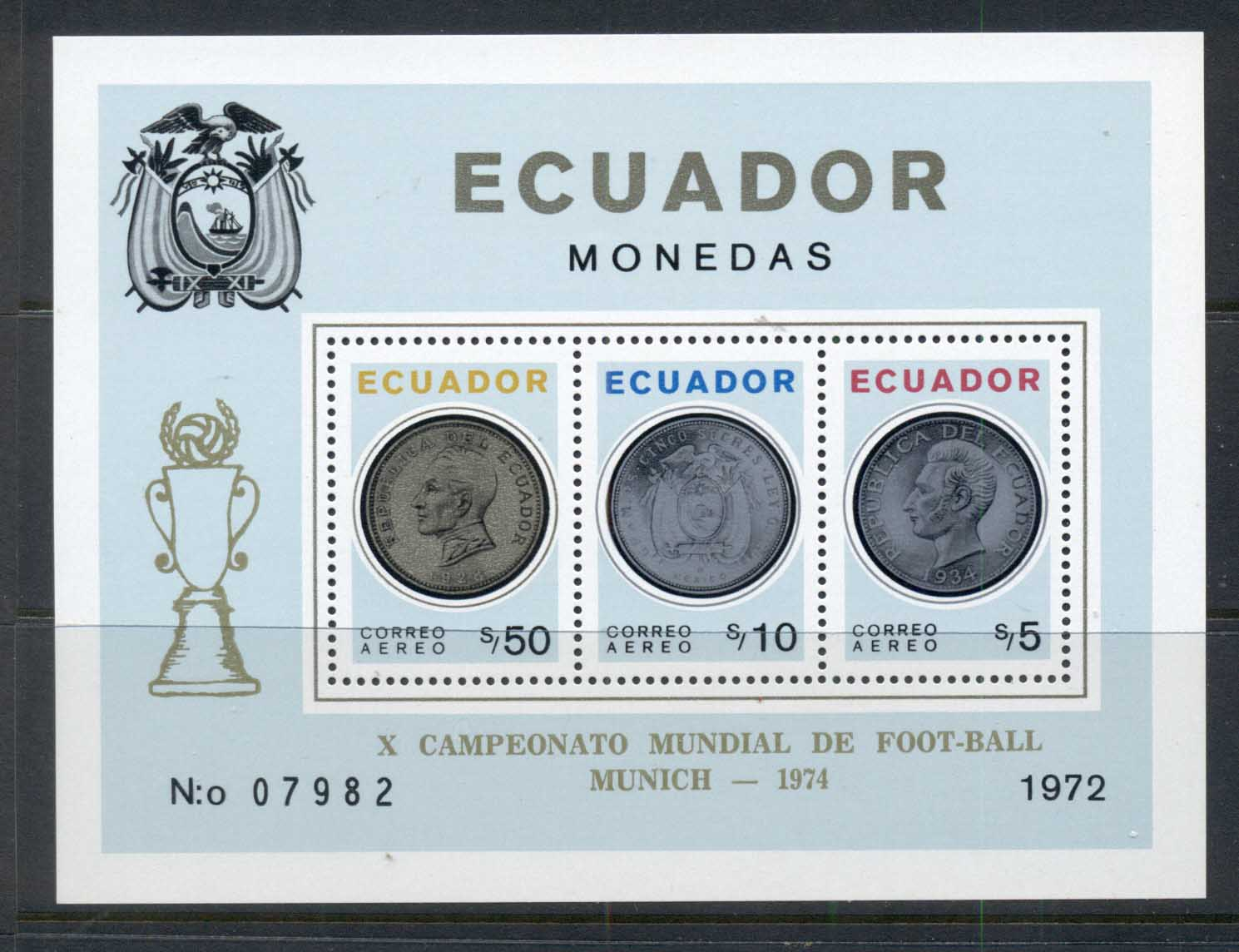 Ecuador 1974 Coins MS Opt World Cup Soccer Munich MUH