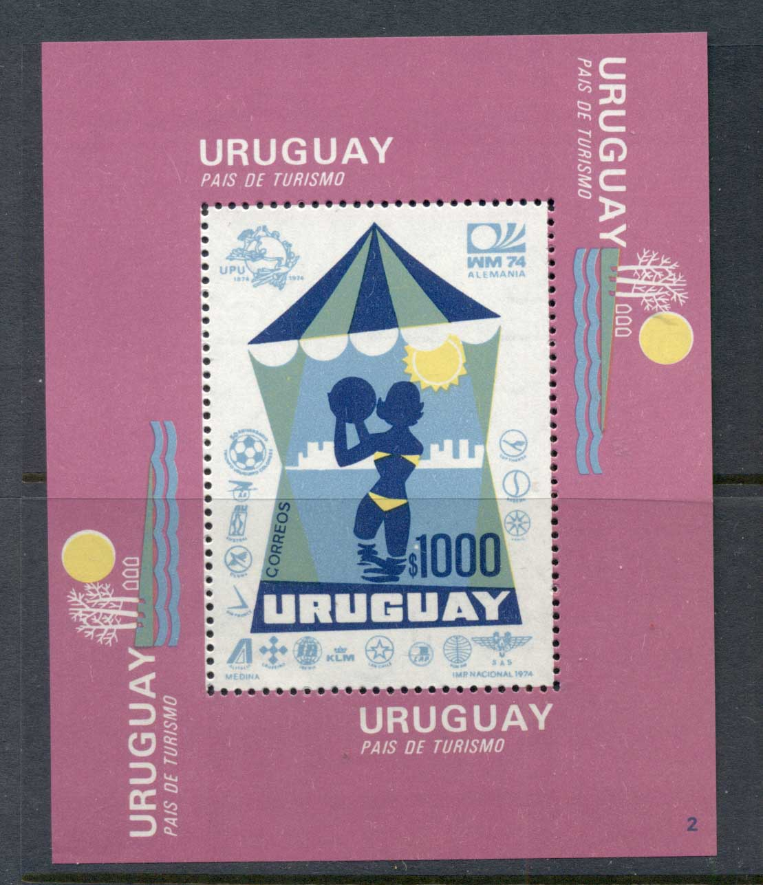 Uruguay 1974 World Cup Soccer Munich MS MUH