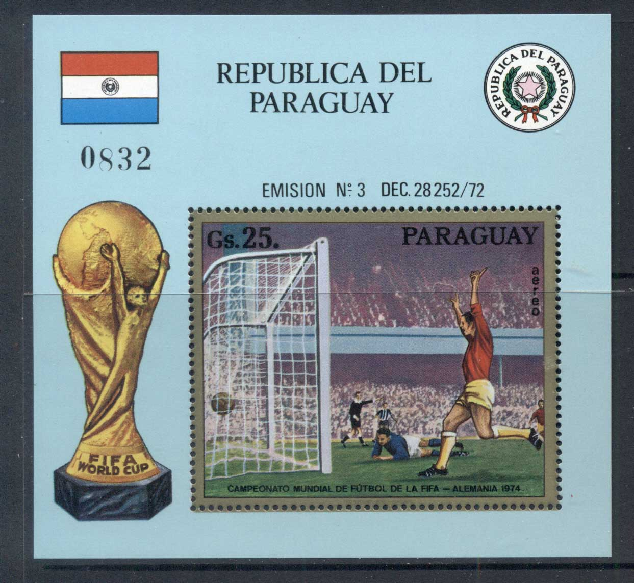 Paraguay 1973 World Cup Soccer Munich MS MUH