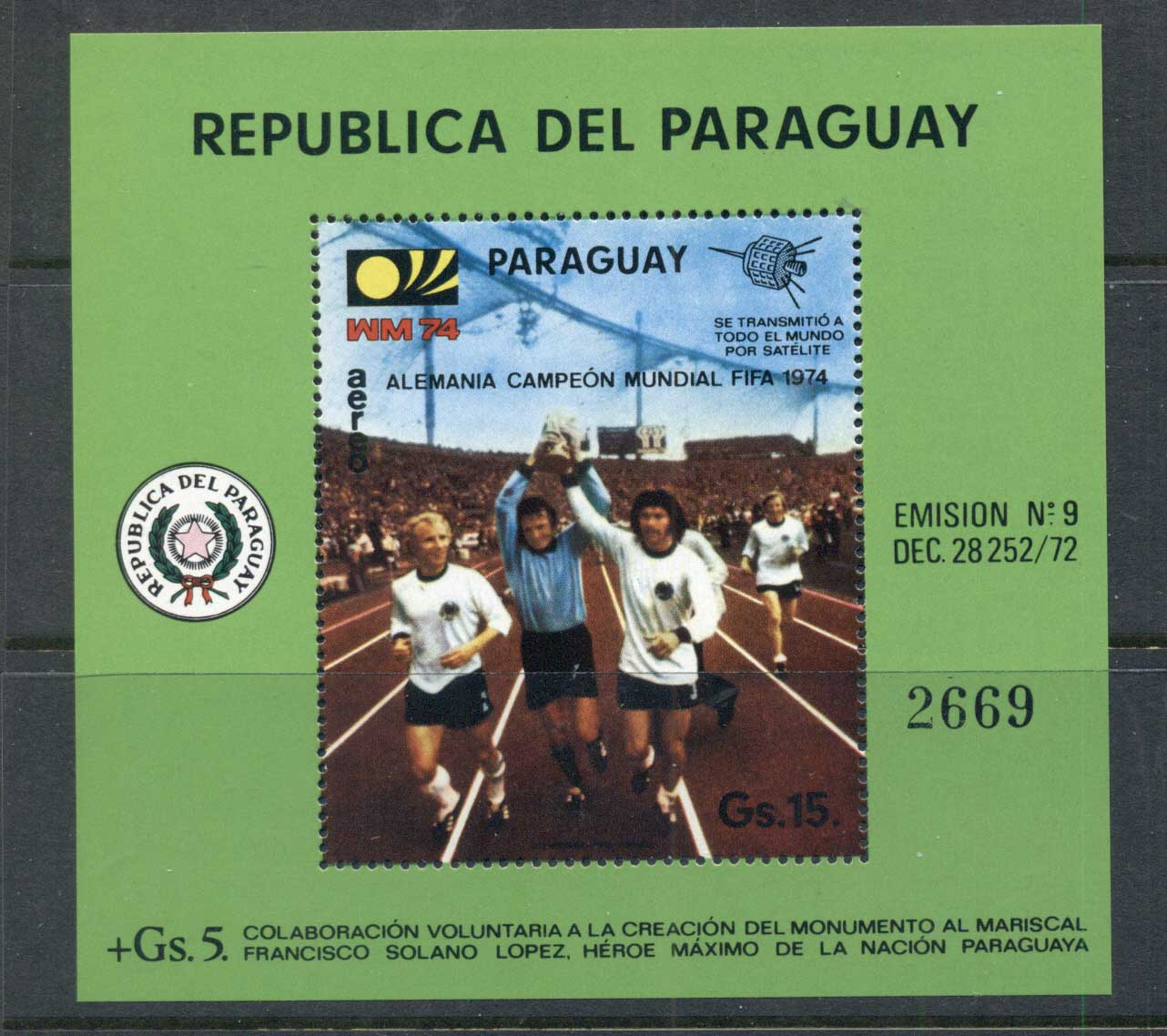 Paraguay 1974 World Cup Soccer Munich MS MUH