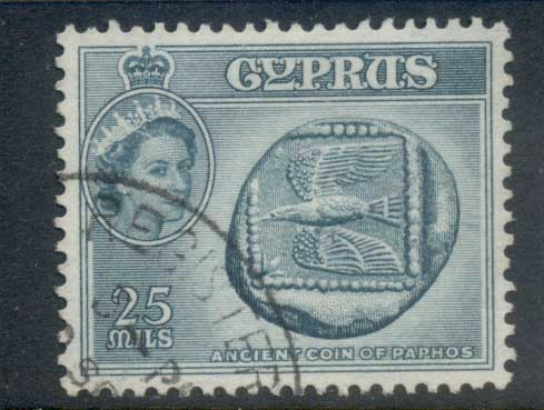 Cyprus 1955 QEII Pictorials Ancient Coin of Pathos 25m FU