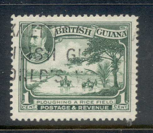 British Guiana 1934 KGV Pictorial Ploughing a Rice Field 1c FU