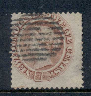 Newfoundland 1865-94 QV 12c pale red brown, paper thin LRHS FU