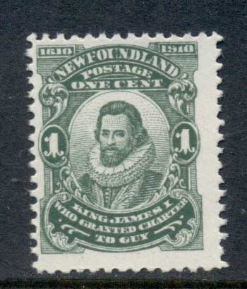 Newfoundland 1910 Guy Issue, James I 1c Perf 12 MUH