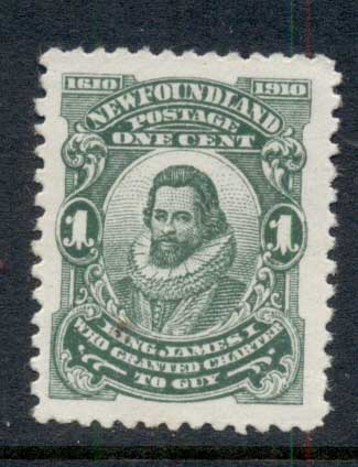 Newfoundland 1910 Guy Issue, James I 1c Perf 12x11 MUH