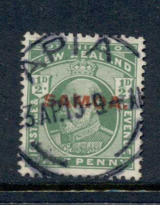 Samoa 1914 Opts on NZ 0.5d FU