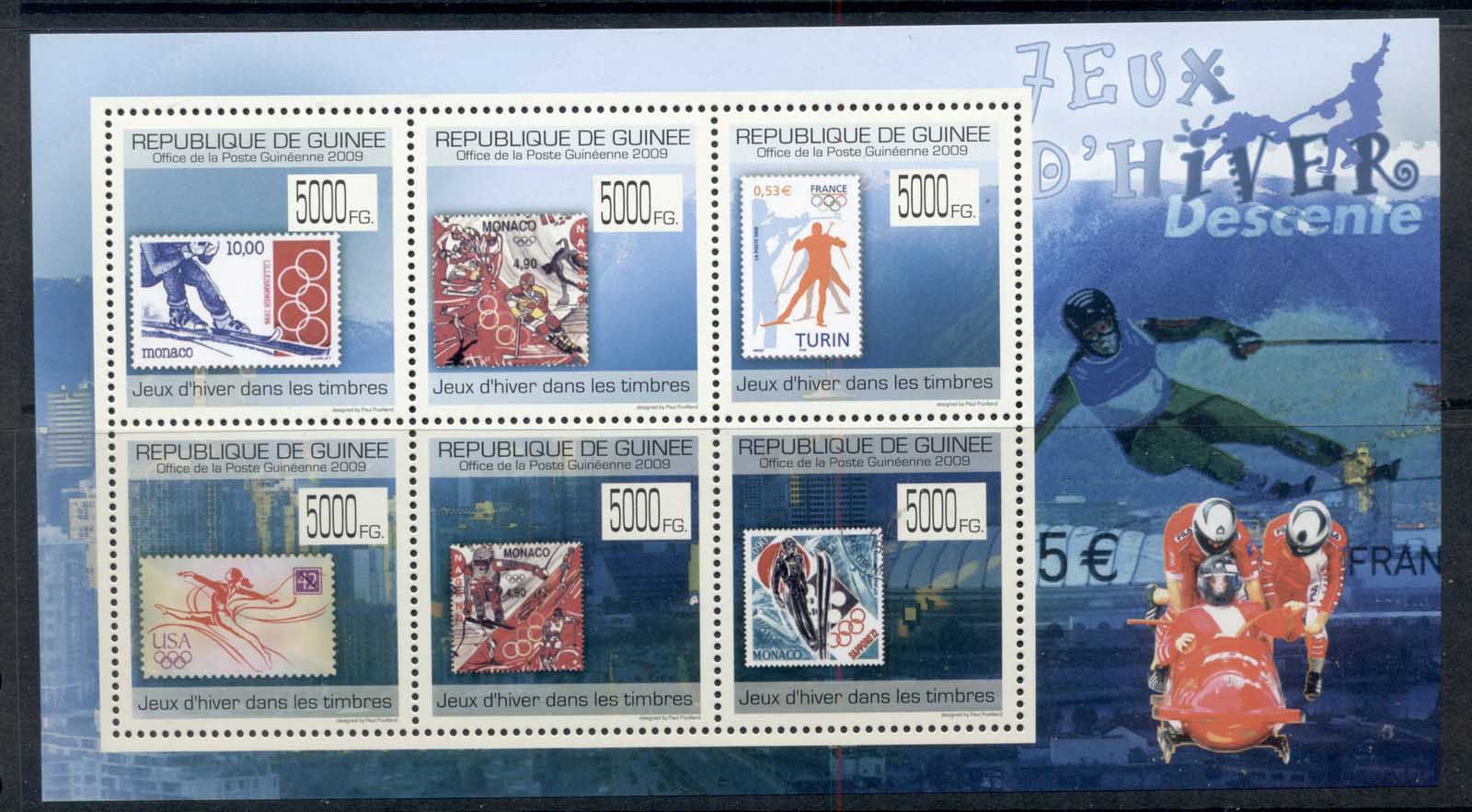 Guinee 2009 Winter Olympics on stamps MS MUH