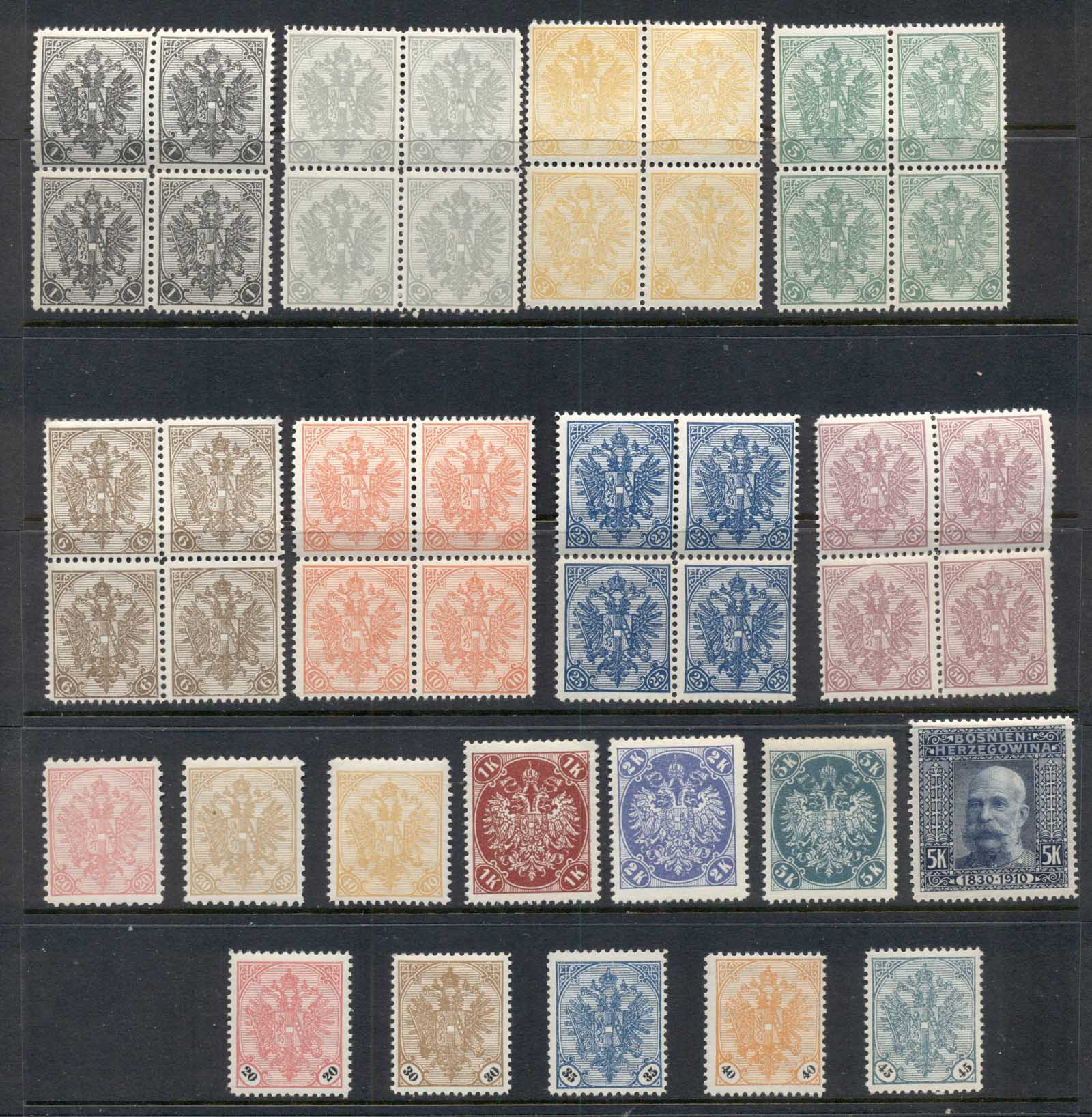 Bosnia & Herzegovina 1900 on Asst inc 20, 30 & 40l reprints MUH/MLH