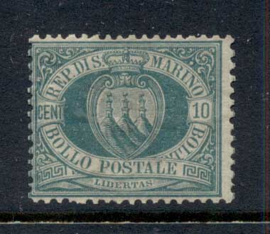San Marino 1877-99 Coat of Arms 10c dark green MLH