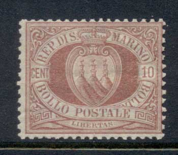 San Marino 1877-99 Coat of Arms 10c claret MLH