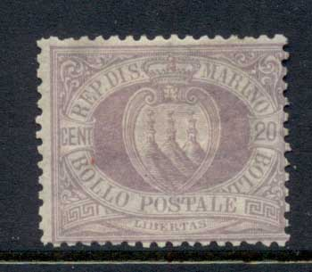San Marino 1877-99 Coat of Arms 20c lilac MLH