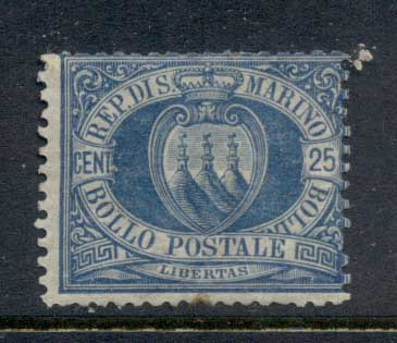 San Marino 1877-99 Coat of Arms 25c blue (faults) MLH
