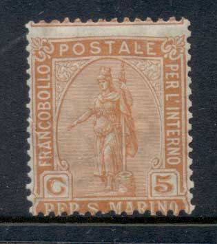 San Marino 1899-1922 Statue of Liberty 5c orange MLH