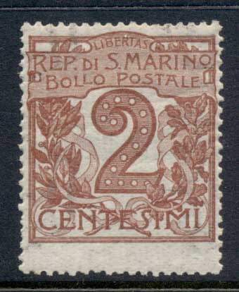 San Marino 1903-25 Numerals 2c orange brown MLH