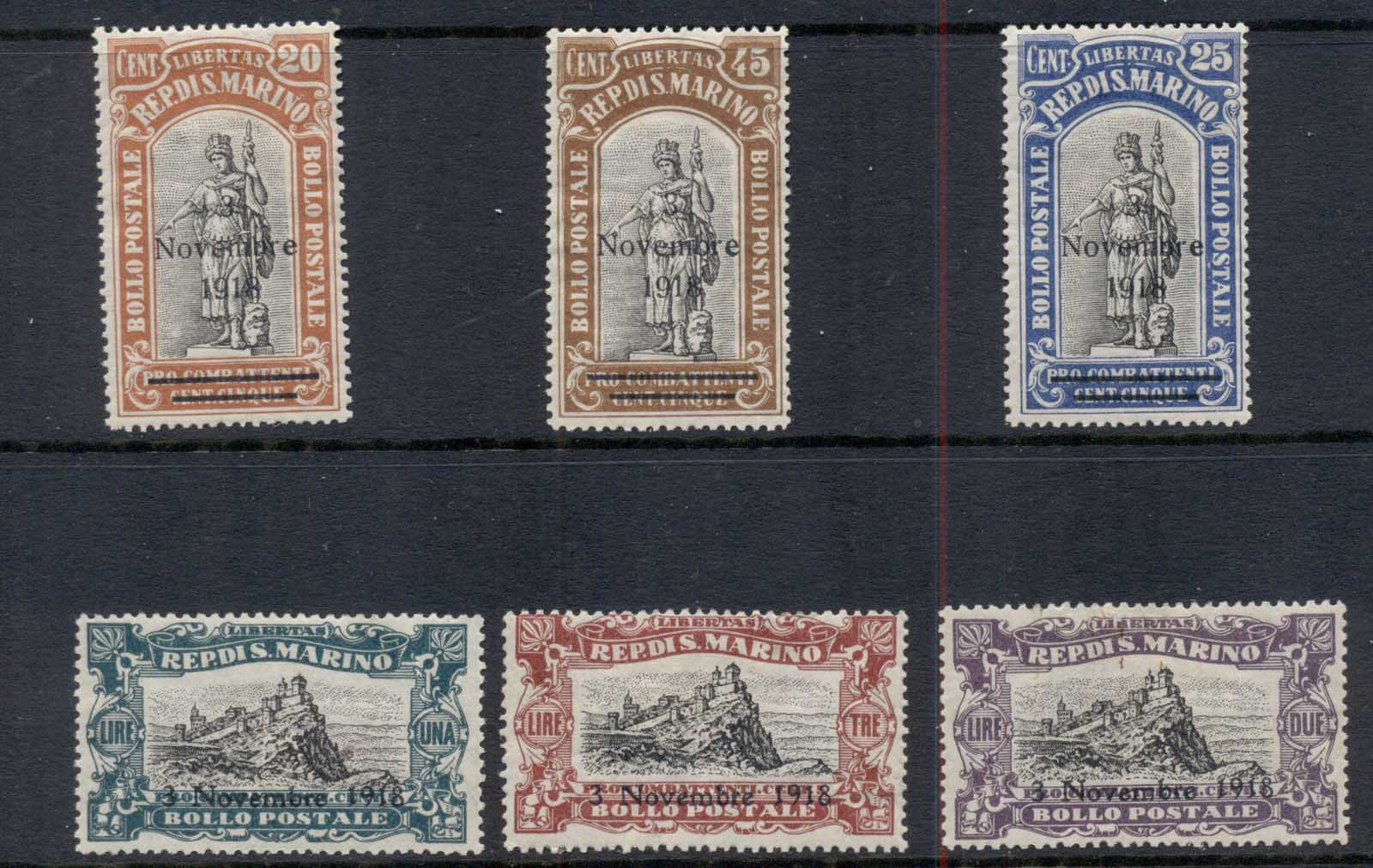 San Marino 1918 Overprints to celebrate Italian Victory over Austria MLH