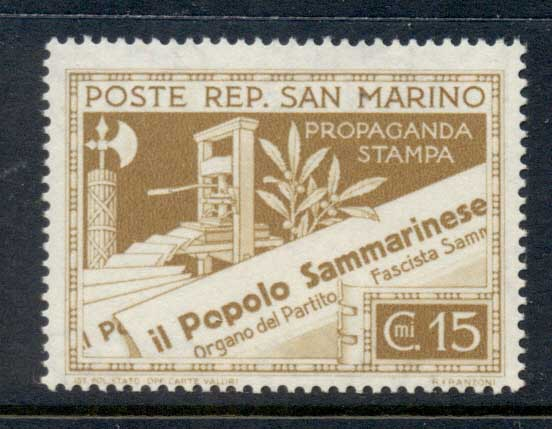 San Marino 1943 Printing Press & Newspapers 15c MUH