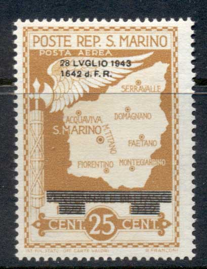 San Marino 1943 Mussolini Faschism Opt LVGLIO 25c Air Post MLH