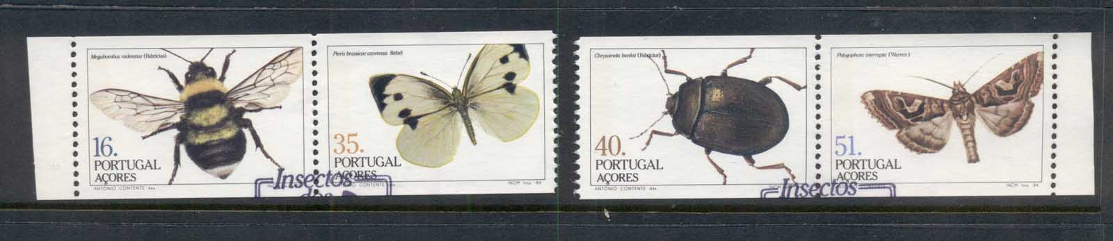 Azores 1984 Insects, beetles, Butterflies ex booklet pane FU