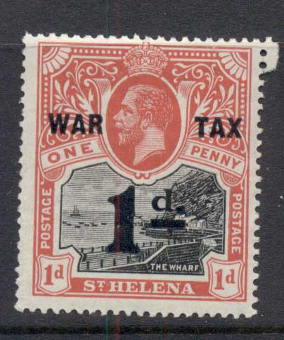 St Helena 1919 Badge of the Colony Opt War Tax MUH