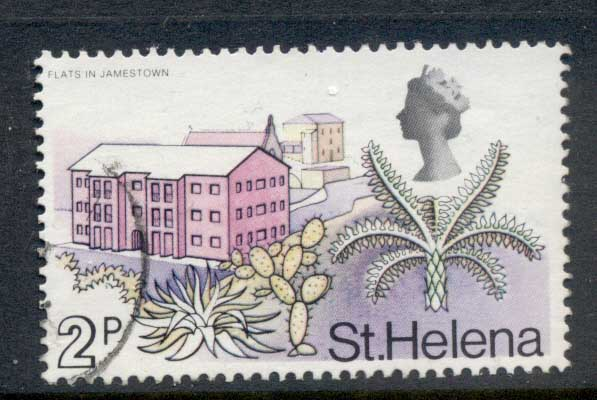 St Helena 1971 QEII Pictorials Flats in Jamestown 2p FU