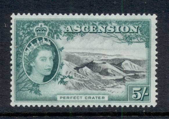Ascension Is 1956 QEII Pictorials Perfect Crater 5/- MUH