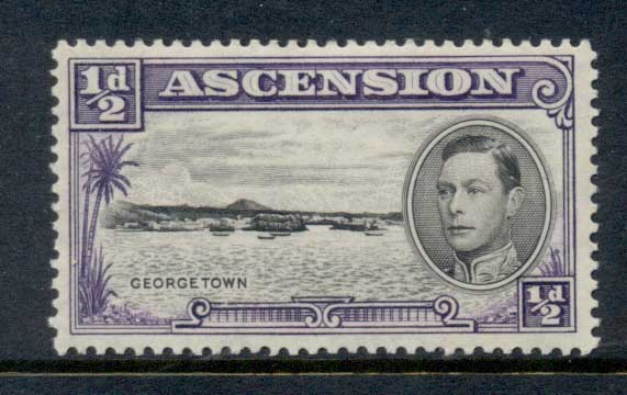 Ascension Is 1938-53 KGVI Pictorials Georgetown 0.5d Perf 13 MLH