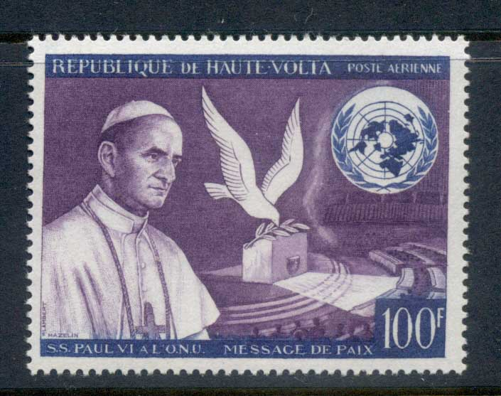 Upper Volta 1966 pope Paul Vi Peace Appeal MUH