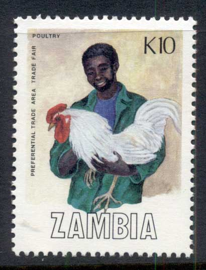 Zambia 1988 Trade Fair 10k, Poultry MUH