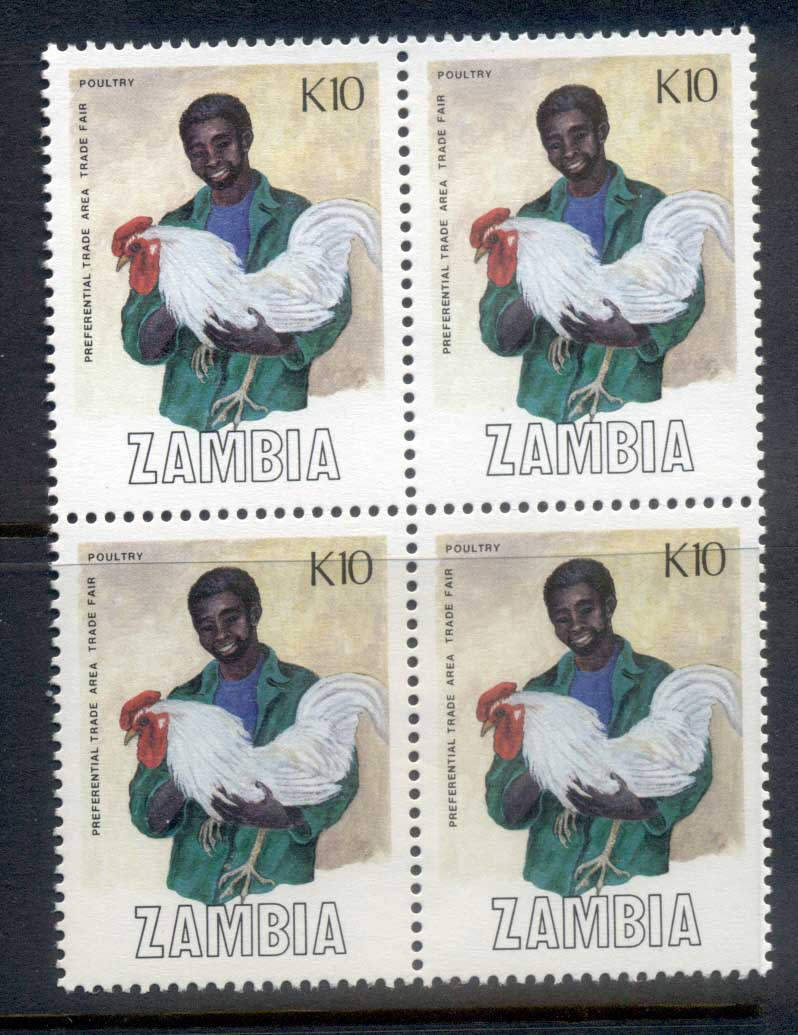 Zambia 1988 Trade Fair 10k, Poultry blk4 MUH
